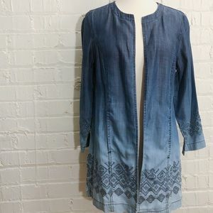 Chico's chambray ombré embroidered open jacket 0